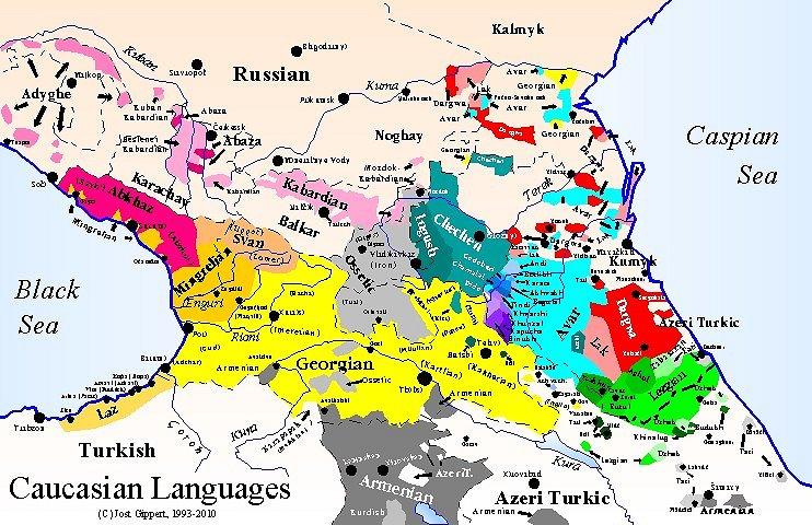 TITUS Didactica Language Map Caucasus Map Frame - Caucasus map
